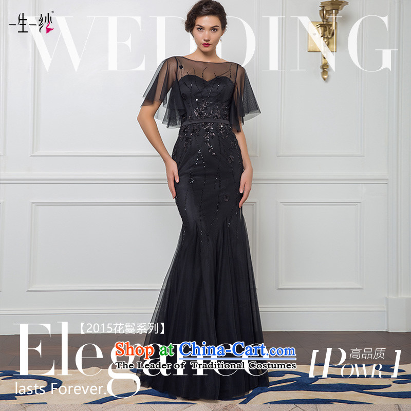 2015 new black lotus leaf cuff to align Top Loin crowsfoot brides under the auspices of the annual dinner dress bows long skirt 50240027?165/88A black thirtieth day pre-sale