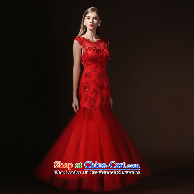 Toasting champagne marriage service long autumn 2015 dress the new bride betrothal evening dress shoulders bridesmaid to lace banquet red tailored consulting customer service