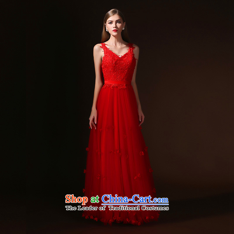 2015 WINTER marriages bows to red petals long gown banquet dinner dress skirt red?S