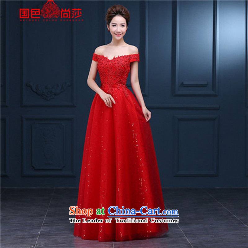 The color is Windsor bride bows services 2015 new autumn and winter short of the word red shoulder wedding dress Ms. long evening dress RED?M