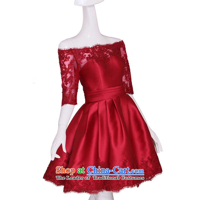 The Syrian word time shoulder lace satin dress short of autumn and winter 2015 new bride bows services birthday party party with annual dinner dress wine red�M