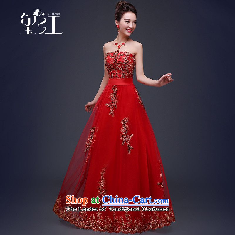 Seal�2015 winter bows services Jiang bride wedding dress female red stylish dress in cuff Sau San lace larger dresses female depilation chest long tailored