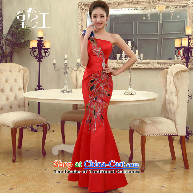 Jiang bows to the bride seal 2015 new winter shoulder crowsfoot wedding dress cheongsam dress long banquet female autumn red - tailored to align
