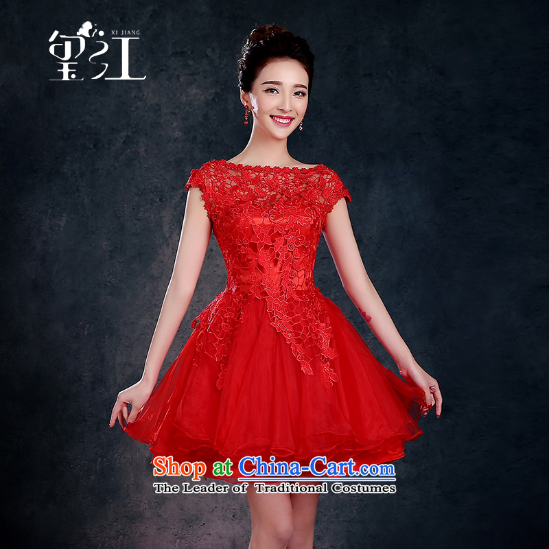 Jiang bride bows to seal the Winter 2015 new red stylish betrothal marry field Dress Short, shoulder banquet female red tailored +30
