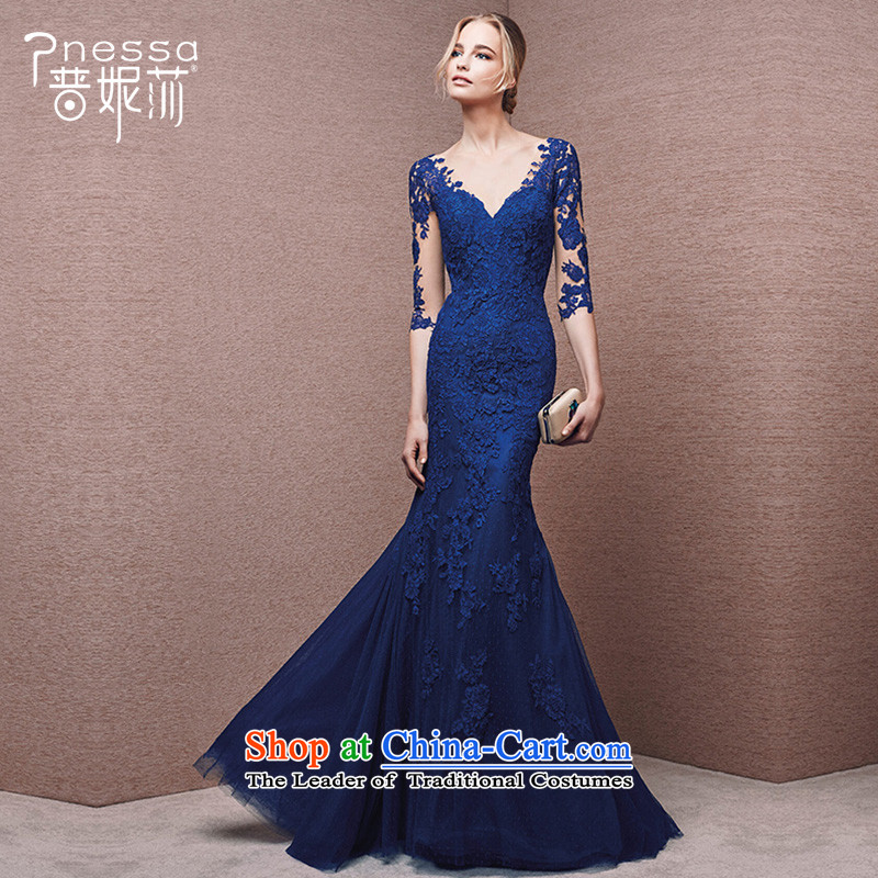 The?new 2015 divas banquet evening dresses long blue v-neck shoulders moderator dress female betrothal crowsfoot Foutune of blue?S
