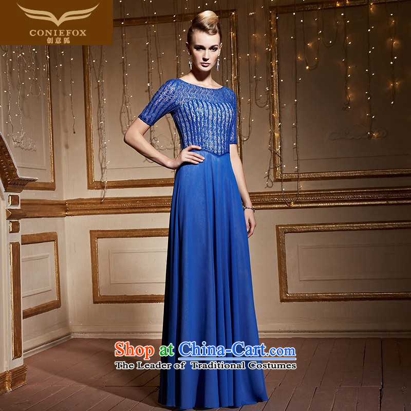 The kitsune�2015 autumn and winter creative new banquet evening dresses to align the blue dress evening drink services under the auspices of Sau San dress�31003�blue�S