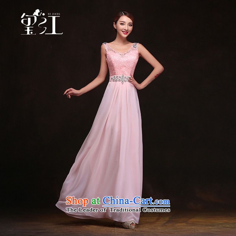 Seal Jiang winter bridesmaid mission 2015 new dresses bridesmaid wedding services evening pink dress banquet annual long gown champagne color?S