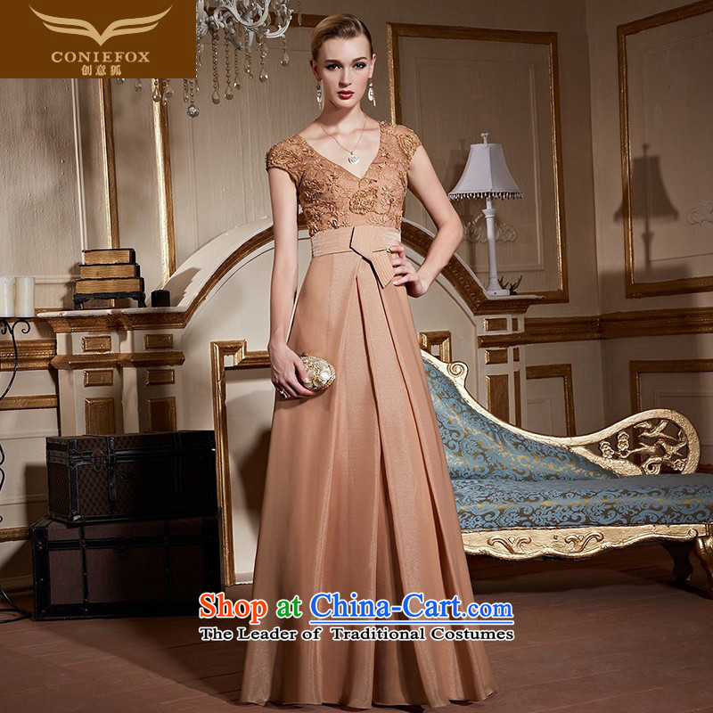 The kitsune stylish package creative shoulder banquet evening dresses marriages bows services under the auspices of the annual meeting of elegant dress lace V-Neck evening�31013�Kim orange�XL pre-sale