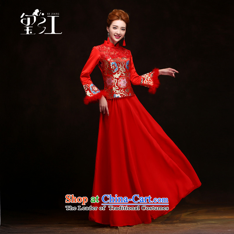 Jiang winter bows to seal the bride wedding dress qipao 2015 new long-sleeved red winter-soo Wo Service marriage long bows dresses cheongsam dress female red S