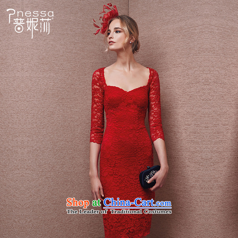 The Republika Srpska divas winter) Bride bows services 2015 new red long wedding dress long-sleeved banquet evening dresses crowsfoot Sau San Red�XXL