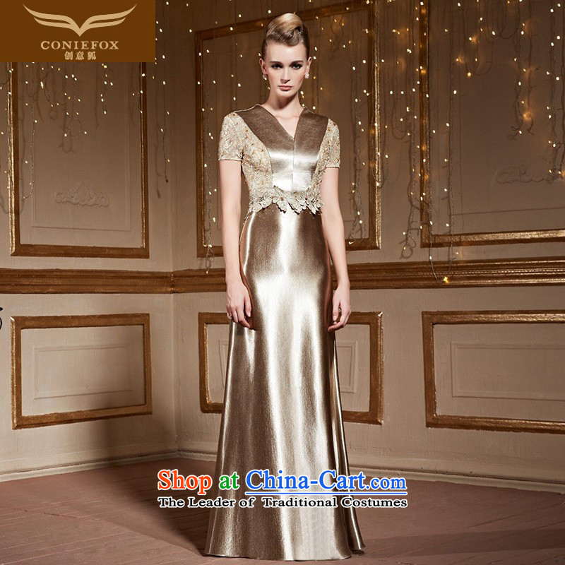 The kitsune�2015 autumn and winter creative new banquet evening dresses annual meeting of persons chairing the performances and stylish V-neck in the evening dress with a drink served long skirt 31026 silver gray�XL pre-sale
