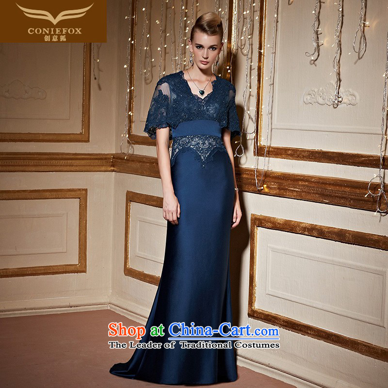 Creative?New 2015 FOX autumn and winter banquet evening dresses lace long tail dress evening drink service will preside over 31031 Deep Blue?XL pre-sale