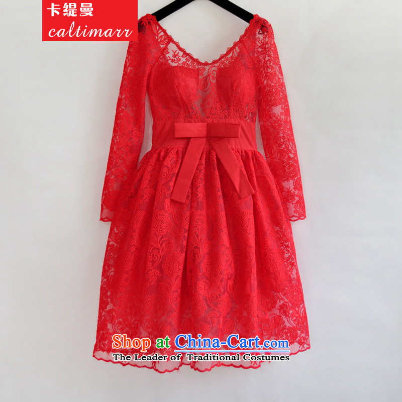 Card as the new 2015 Cayman embroidery lace Bow Tie Sau San bon bon princess skirt V-neck with skirt dress 8FFM SERVICES RED M