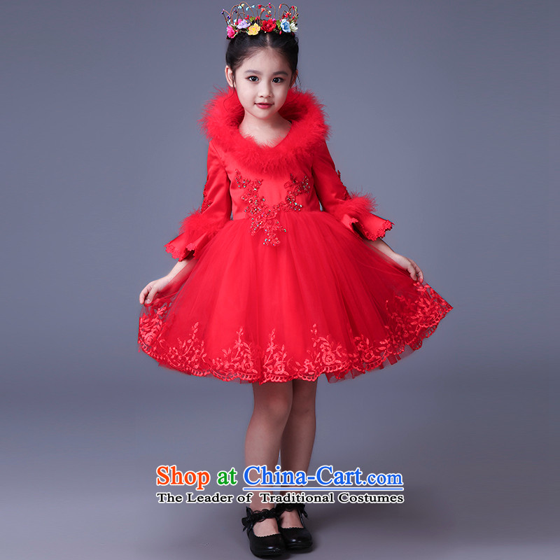 Tim hates makeup and children dress skirt girls princess skirt warm take children's wear long-sleeved children dance skirt the piano will replace dress parent-child HT5107 red�130CM