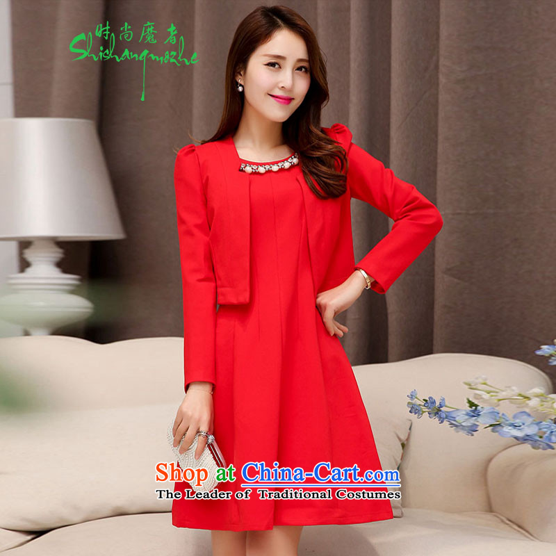 Stylish new 2015 devil of the Korean version of the Pearl for two piece dress elegant wedding dress toasting champagne video thin services A skirt the girl with a pearl necklace 528 red�XXXL