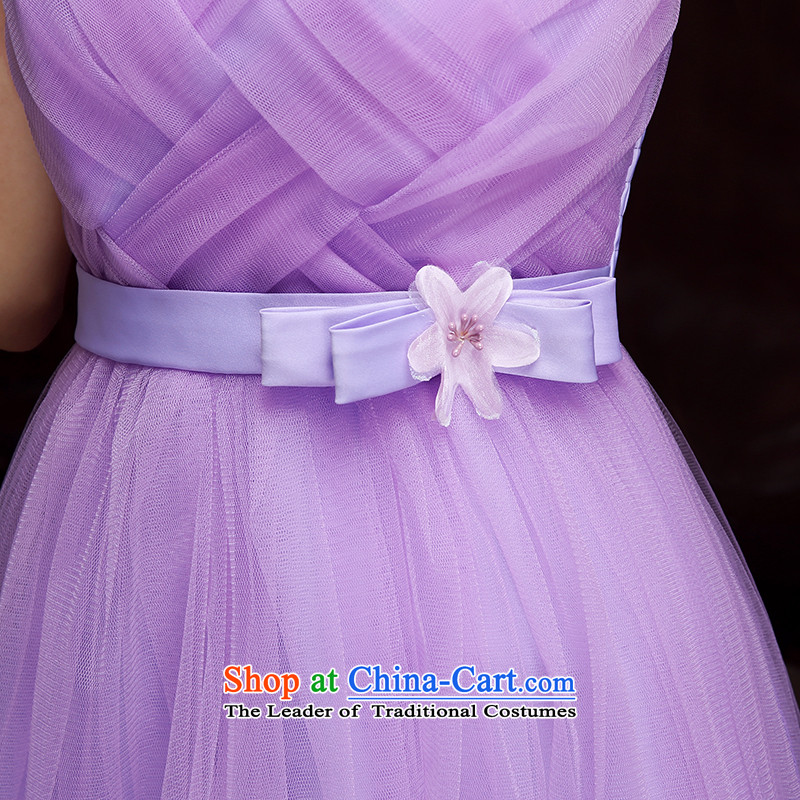 Bridesmaid dress 2015 new autumn and winter Korean Bridesmaid Sau San service single shoulder evening dresses small dining evening dress annual large long skirt skirt purple long skirt are Codes 85-115 catty