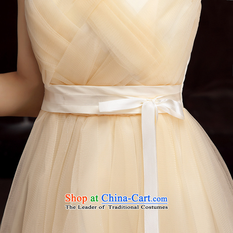 Bridesmaid dress 2015 new bridesmaid services fall short of replacing sister skirt winter clothing dress bows long skirt annual evening gauze wiping the chest dresses champagne long skirt XL
