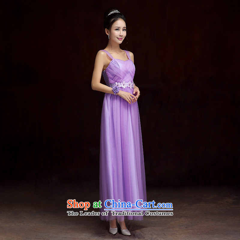 2015 new stylish wedding dress short) bridesmaid small dress Korean sweet shoulders web dress sister States under the auspices of the annual show dresses purple long skirt are Codes 85-115 catty