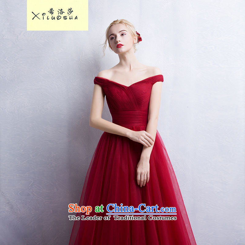 Hillo Lisa _XILUOSHA_ evening dresses long western minimalist bride bows services 2015 autumn and winter wedding dress moderator dinner wine red wine red聽M