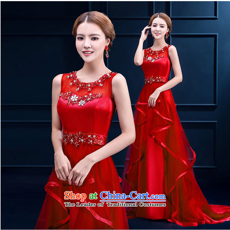 Pure Love bamboo yarn upscale dress banquet evening dresses 2015 winter new shoulders marriages small red tail wedding bows services long red�XL