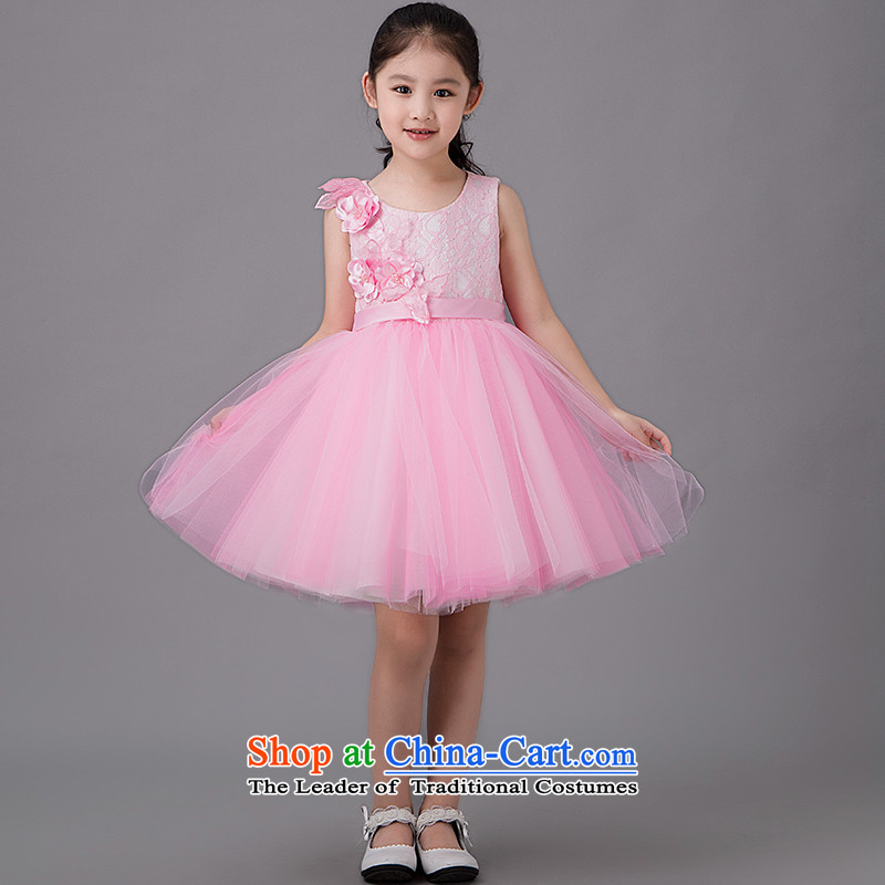 Tim hates makeup and children dress girls take children's wear skirts Princess Children Dance skirt short skirt dresses piano performances of children skirt parent-child replacing evening dresses HT5091 pink?150CM