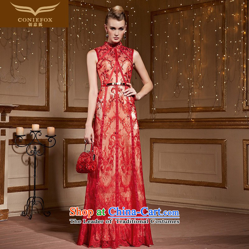 Creative Fox stylish lace banquet evening dresses red marriages bows services annual meeting of persons chairing the evening dress female wedding dress 31060 Red聽XL