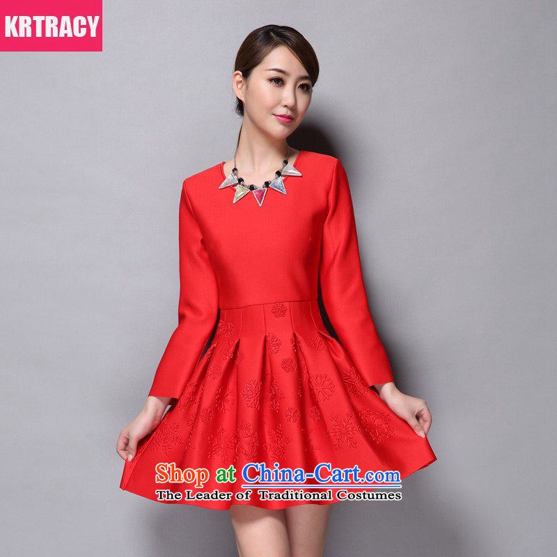 Krtracy2015 autumn and winter clothes for larger bon bon wedding dresses bride skirt long-sleeved red female skirt Alc-q0405 Sau San Red?L