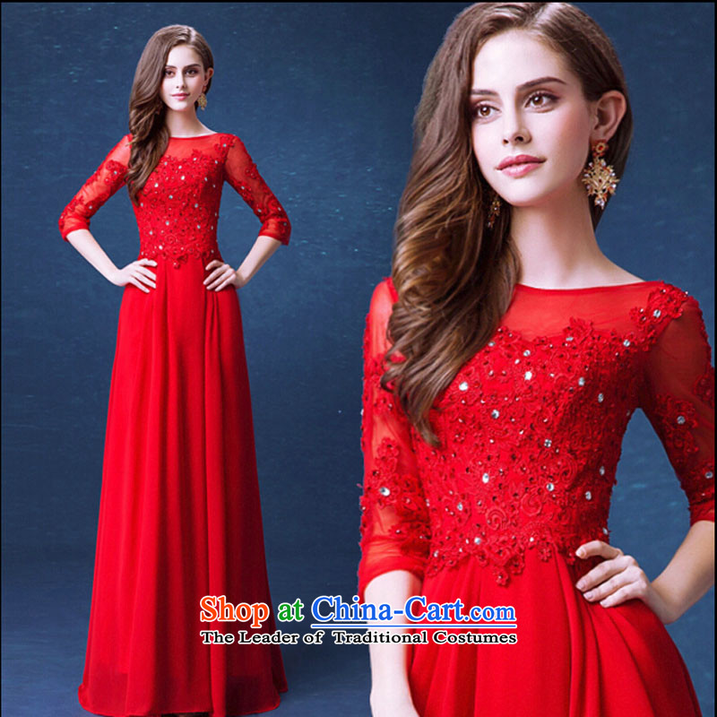 Pure Love bamboo yarn upscale red lace sleeve length, replace bows wedding service bridal wedding dresses qipao 2015 Winter New Red L