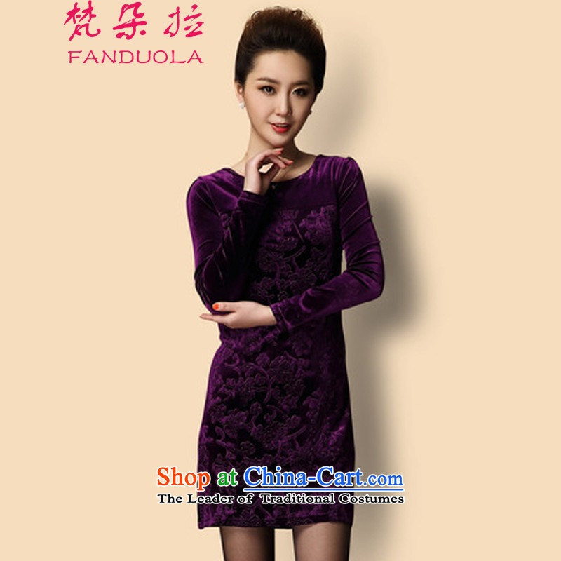 Van Gogh's temperament large non-marking video thin women Kim velvet gown dresses  XXXL C02 Purple