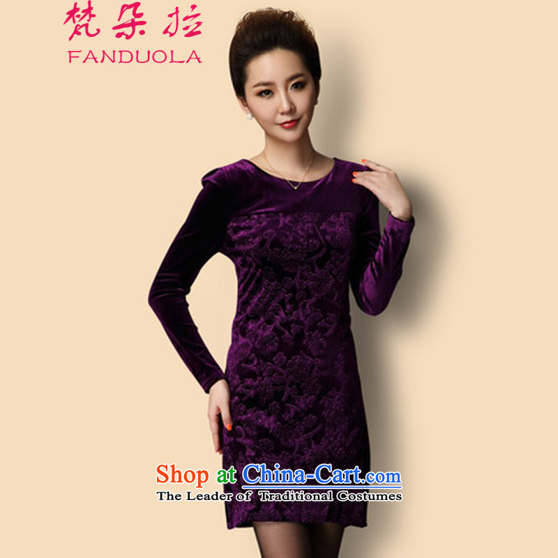 Van Gogh's temperament large non-marking video thin women Kim velvet gown dresses C02 Purple XXXL, Van Gogh (FANDUOLA) , , , shopping on the Internet