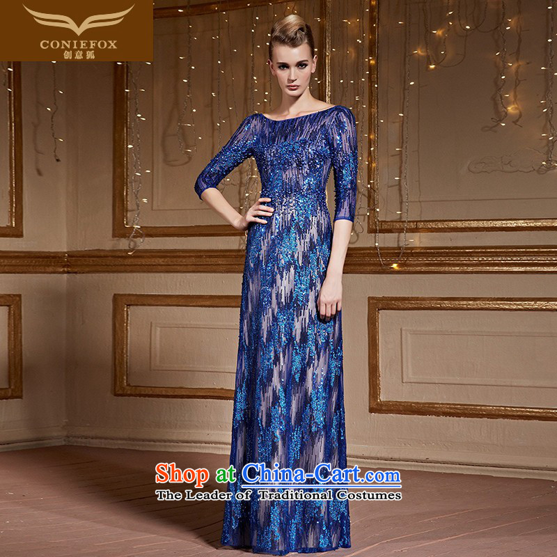 The kitsune style five creative cuff banquet hosted the annual dinner dress suit back evening drink served long dresses Sau San long skirt 82223 Blue�M