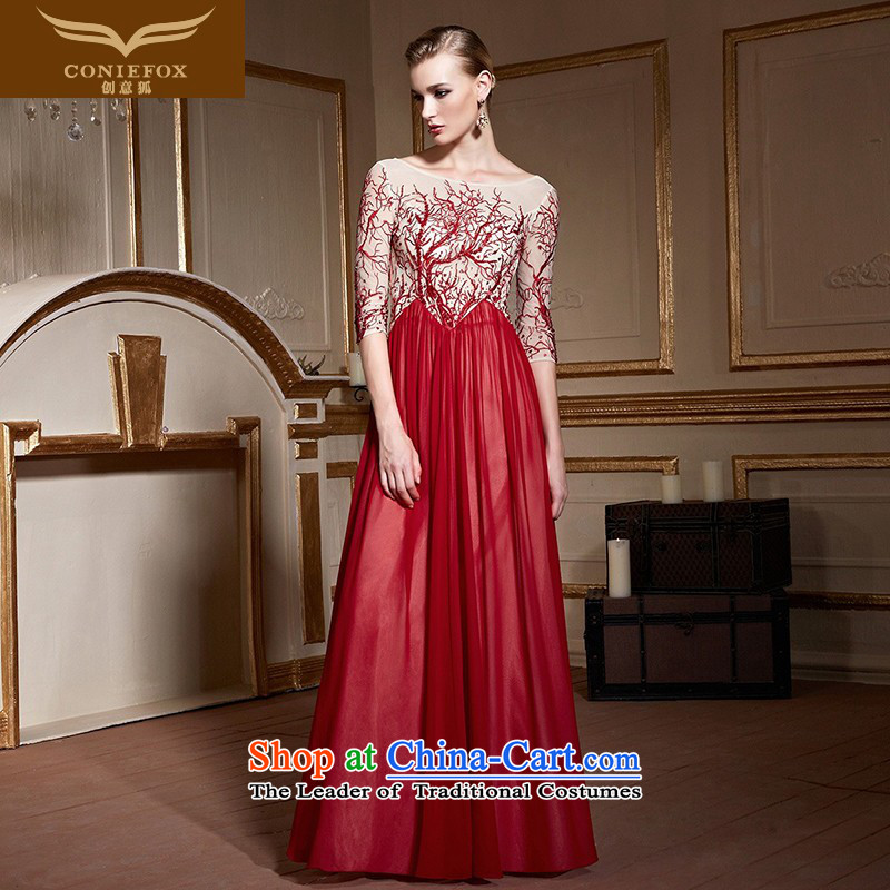 Creative Fox stylish banquet evening dresses back performances under the auspices of evening dress suit birthday party reception serving drink long skirt聽82235聽red and white patterned聽S pre-sale