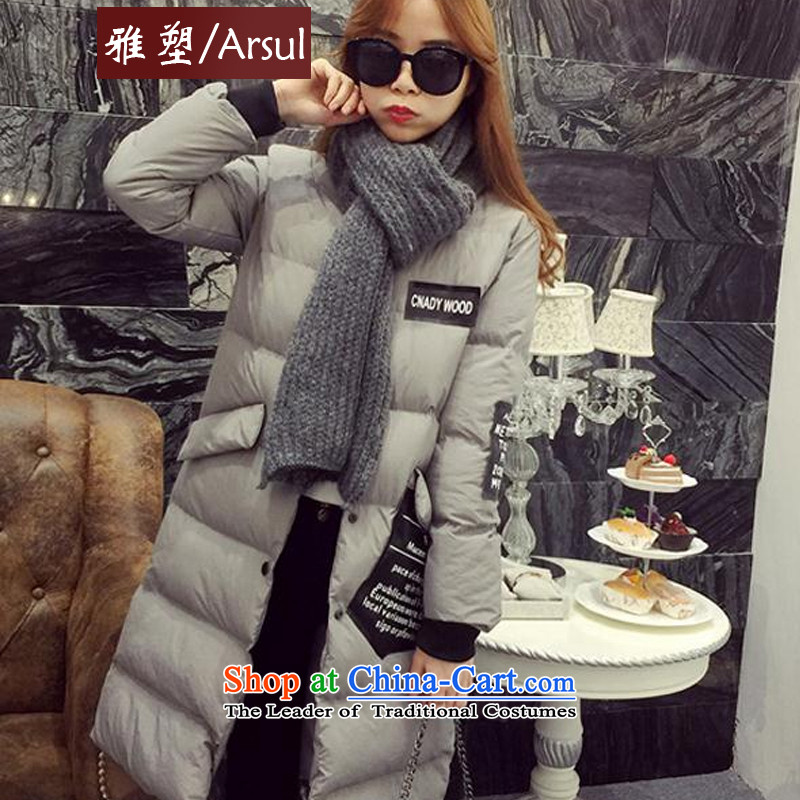 Ya�2015 autumn and winter plastic new concept of the Dongdaemun Street in Western wind long downcoat female distribution scarf gray�XL
