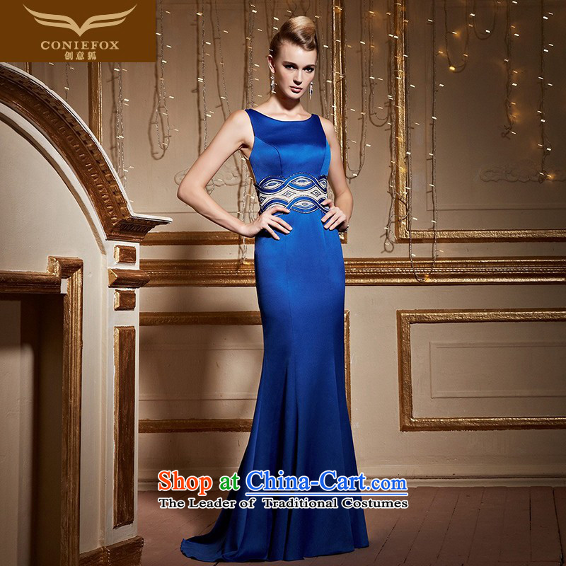 The kitsune style small shawl creative two kits banquet evening dress elegant long tail will preside over dress wedding dress evening dress 82250 blue聽L pre-sale