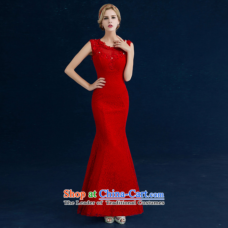 Seal the bride dress dress Jiang 2015 Winter Korean dresses marriage bows services crowsfoot red lace align to Sau San crowsfoot code binding with various B, shoulders tailored round-neck collar