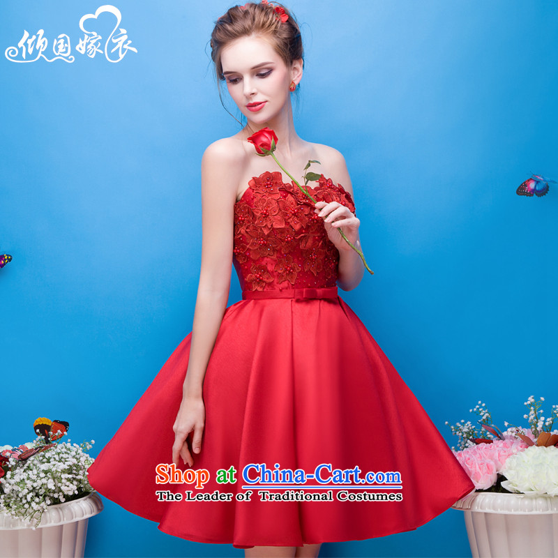 However Services 2015 autumn and winter new wedding dress red bridal dresses banquet Evening Dress Short) bridesmaid services red�XL