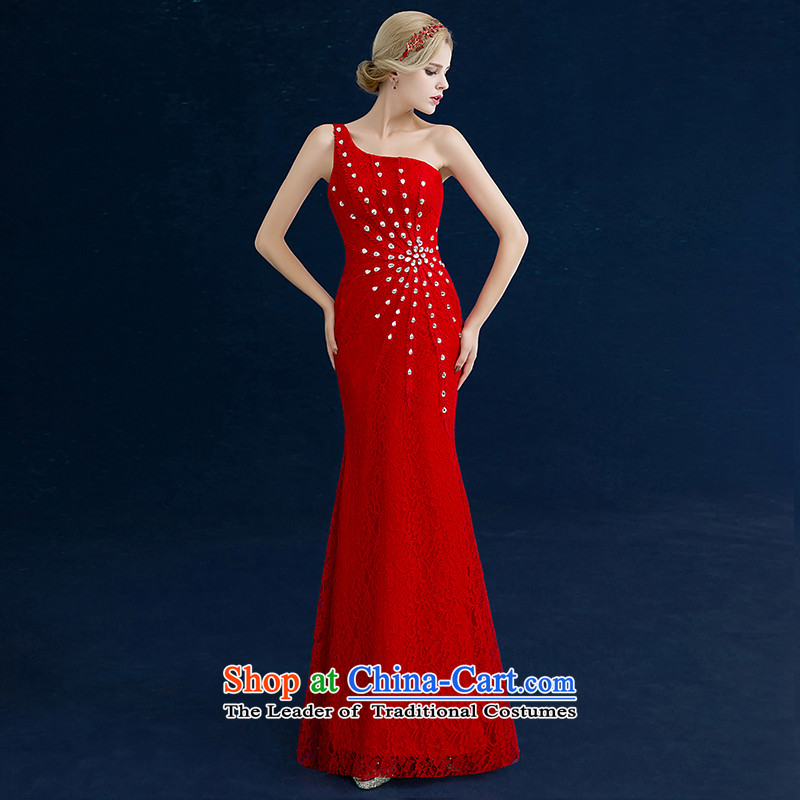 Seal the bride dress bows services Jiang 2015 Winter Korean wedding dress red stylish single large diamond shoulder straps banquet show small dress long gown red single shoulder crowsfoot tailored