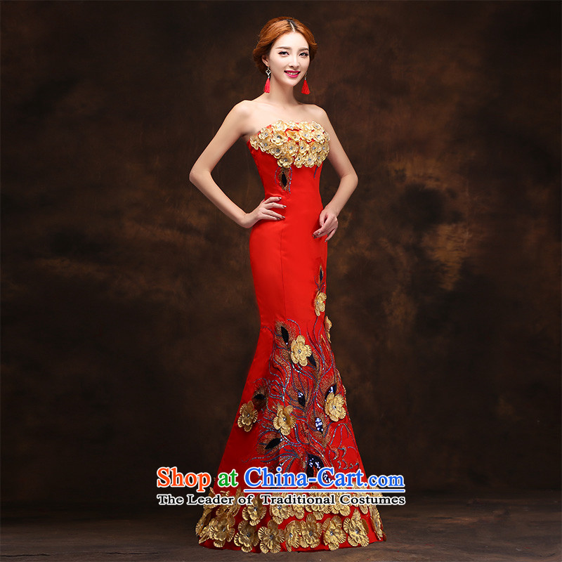The new 2015 winter wedding dresses red bride bows service wedding dress long cheongsam dress tailored consulting customer service