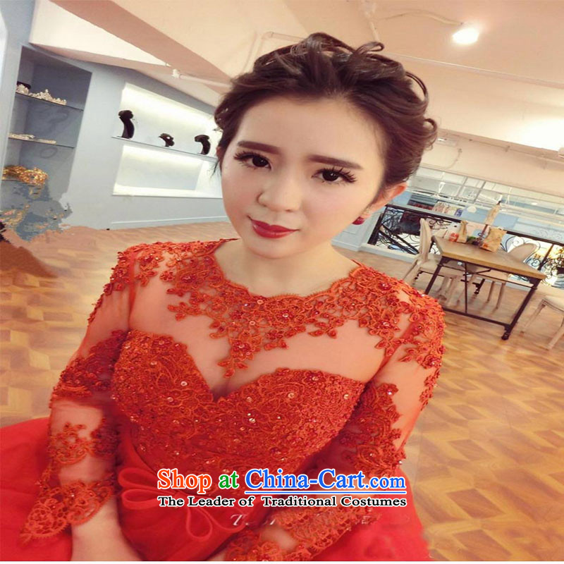 Winter) bows services 2015 new long-sleeved bride wedding dress red long banquet dress Sau San betrothal red XL