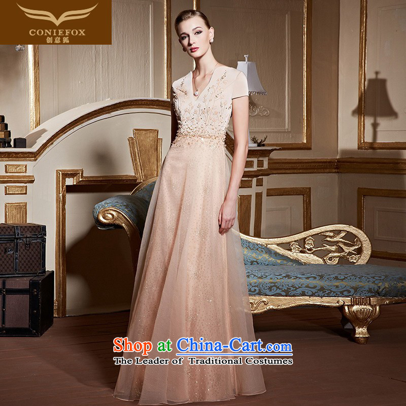 Creative Fox stylish v-neck banquet hosted the annual dinner dress evening dress marriages bows services birthday party dress long skirt 82255 apricot聽S pre-sale