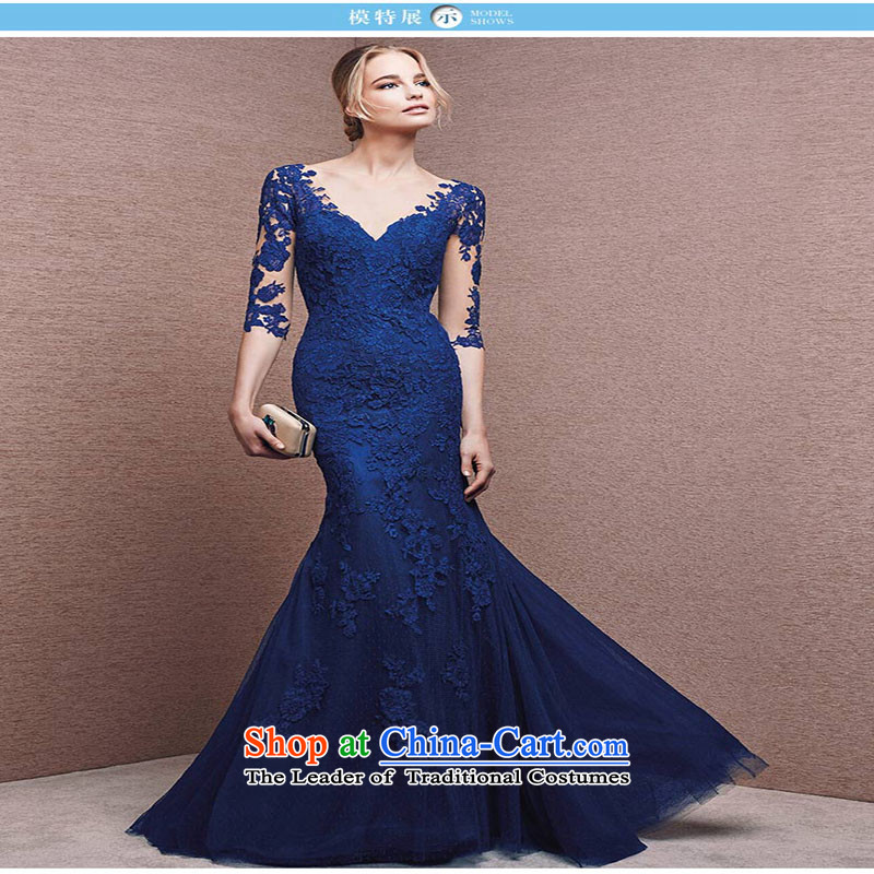 Banquet evening dresses long autumn 2015 New Sau San crowsfoot v-neck evening dress Female dress blue made no refund is not shifting
