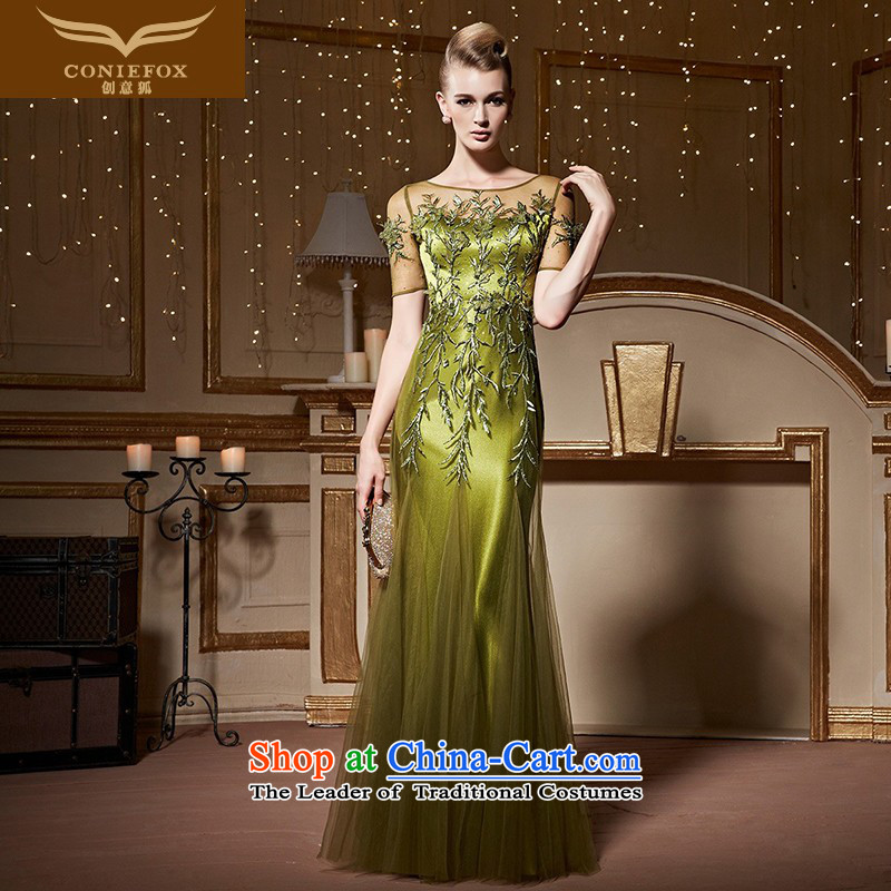 Creative Fox long brides elegant wedding dress evening drink services under the auspices of the annual session will dress stylish embroidered dress 82259 Fluorescent GreenS