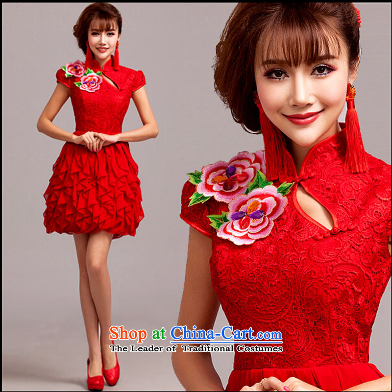 Pure Love bamboo yarn bride wedding dress qipao 2015 new autumn and winter clothing red short bows of Chinese improved Sau San Red聽XL