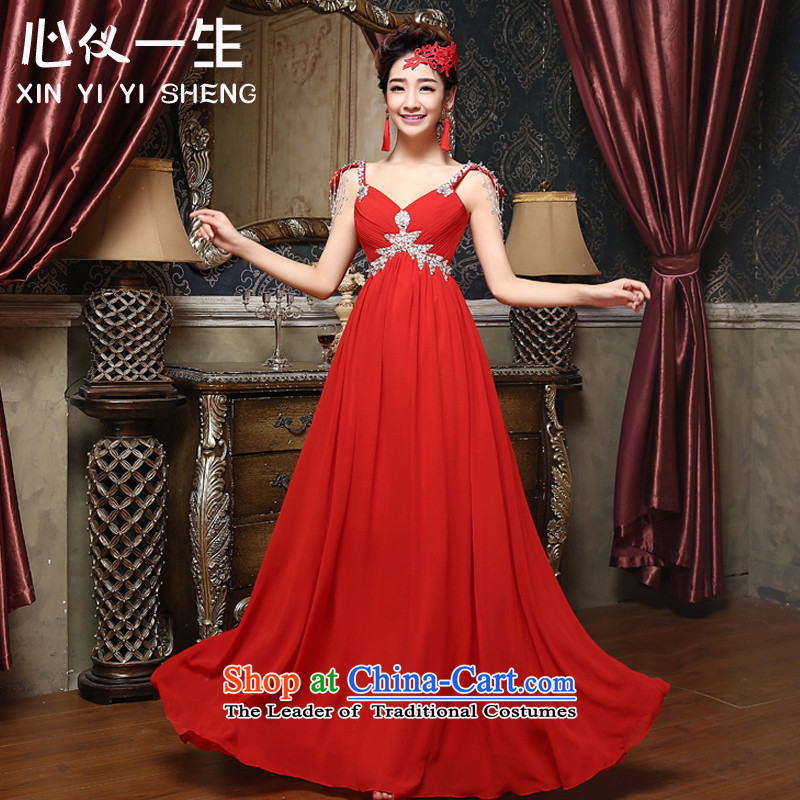 A heart is the bride wedding dress�2015 new stylish banquet evening dress long lifting strap shoulders dress skirt Korean style serving drink red�S