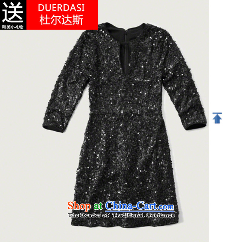 Dorda, 2015 Autumn and Winter Female Hot Sales for Europe and the metal tab is sexy reception .payty dress suit Q 7,763 Black�M