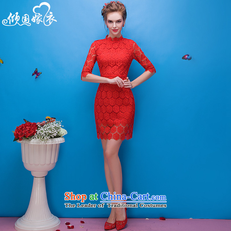 However Services 2015 autumn and winter in the new Marriage red bride dresses cuff banquet Evening Dress Short_ bridesmaid services red聽XL