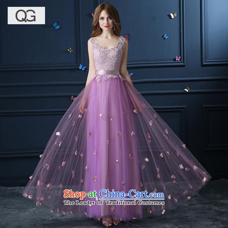 Wedding dresses?2015 Summer shoulders graphics performance, slim dress bows V-Neck gown light purple?S