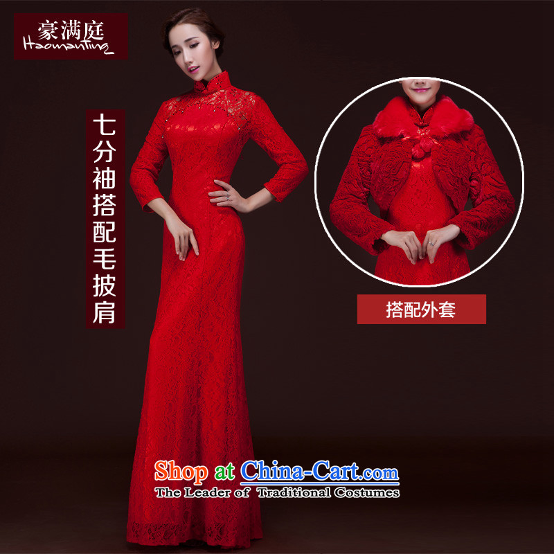 Toasting champagne bride services red wedding dress long Sau San crowsfoot long-sleeved lace cheongsam dress banquet annual courtesy etiquette evening dresses winter 7 Cuff + gross shawl?XL