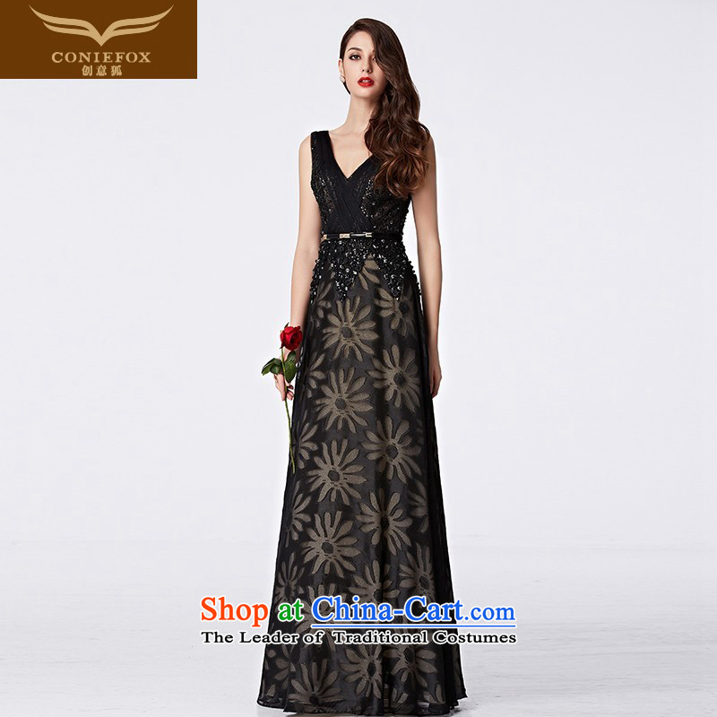 Creative Fox stylish shoulders banquet dinner dress birthday party reception aristocratic dress sense of V-Neck moderator dress evening drink service 31065 Black聽XL pre-sale