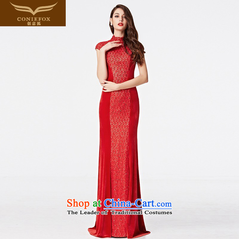 The kitsune?2015 autumn and winter creative new bride wedding dress red evening drink served long tail Sau San presided over 31069 will dress red?XXL pre-sale